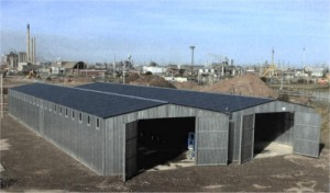 Multi-span sectional steel building