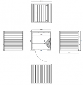 2m Expandastore flat pack storage container Technical Drawing