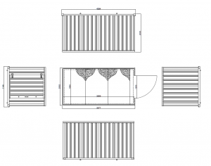 4m Expandastore flat pack storage container Technical Drawing