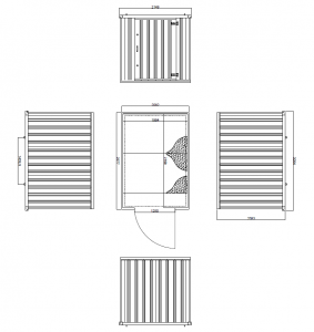 3m Expandastore flat pack storage container Technical Drawing