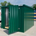 Green Expandastore flat pack storage container